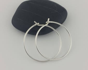 Thick Silver Hoop Earrings, 18 gauge (1mm) Hoops, Sterling Silver Hoops, Hoop Earrings, Thick Hoops, Round Hoops, Mother's Day Gift