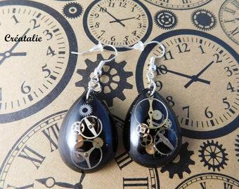 Steampunk resin earrings