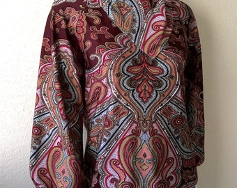 Vintage Women's 70's Paisley Blouse, Burgundy, Polyester, Long Sleeve (M)