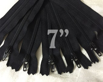 "7"" zippers ykk zippers nylon zippers black zippers wholesale zippers sampler pack zipper 7 inch ykk zippers - 10 pieces NYL07"