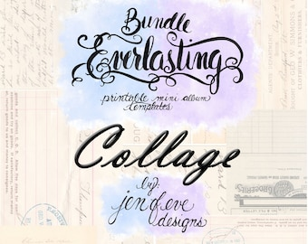 Everlasting & Mini Everlasting Printable Mini album Template Bundle in Collage and PLAIN