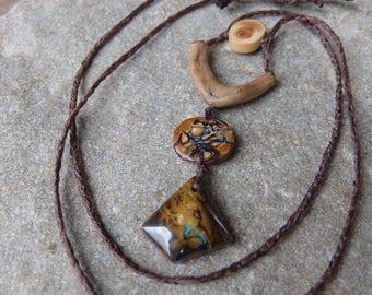 Custrom creation for Margolet - Boulder opal, wood necklace - tribal natural macrame adjustable length