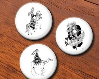 Princesses Pinback Buttons Badges or Magnets