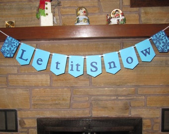 Let it snow banner, winter banner, winter garland, Let it snow decorations, Winter themed party