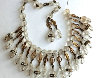 Vintage Faceted Crystal Glass Bead Dangles Necklace Supply Fabulous
