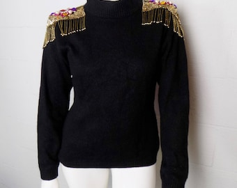 Vintage 80's Extra Energy By De Rotchild Black Sweater With Beaded Shoulders Size M