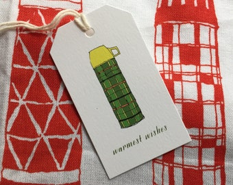 Thermos Tea Towel - ready to ship - housewarming gift