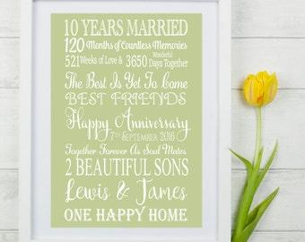 Ten Year Wedding Anniversary Gift. Personalised Anniversary Gift. Personalised Anniversary Print. ten Year Anniversary Print. 10 Year Gift.