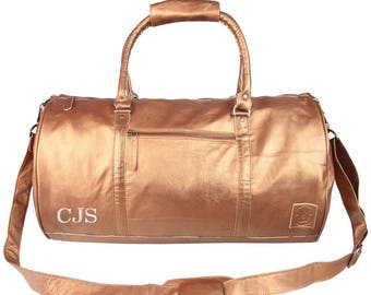Bronze Leather Weekend Bag - Leather Duffle Bag - Overnight Bag - Gym Bag in Metallic Bronze by MAHI Leather