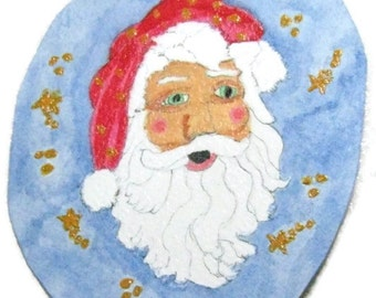 Santa Paper Ornament, Painted Santa Ornament