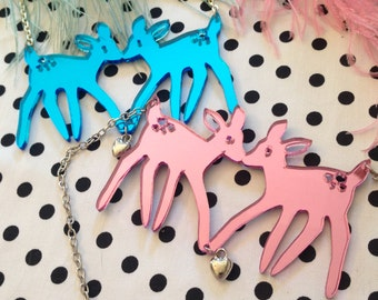 Pink or Blue Acrylic FAWNS Necklace