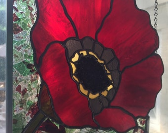Stained Glass Poppy Panel