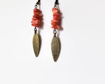 Natural Coral Earrings - Antique Bronze Earrings - Leaf Earrings - Rustic Earrings - Boho Earrings - Simple Earrings - Earthy Earrings
