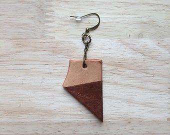 Leather earring, dangle earring, single earring, one off