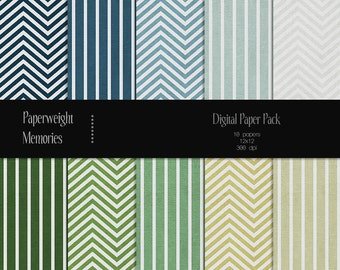 Cool & Fresh Collection: Chevron and Stripes - Instant download - Digital Papers - blue and green textured paper - Commercial use
