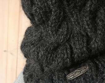 Hand Knitted 100% Baby Alpaca Cable Winter Cowl