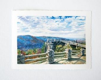 Coopers Rock Overlook Watercolor Print - WV Landscape Print - Landscape Watercolor Illustration