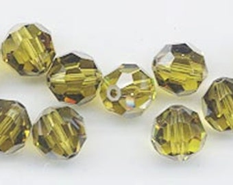 "12 Swarovski crystals with ""satin"" effect - art. 5000 - lime satin - 8 mm"