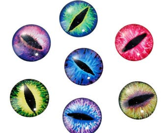 Eye Cabochons Round Glass Cabochons 25mm Flat Back Cabochons Dragon Eye Flatbacks Assorted 6pcs
