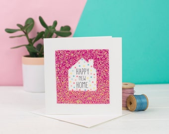 New Home Card - Pink Glitter house card - Happy New Home card - Card for Housewarming - Card for New Home Owners -