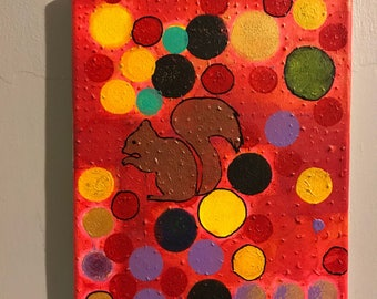 Lose the Lost Episode: Squirrel on Textured Abstract. Acrylic Paint on 8x10 canvas