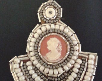 Handmade Necklace  - Traditional Cameo and Beading