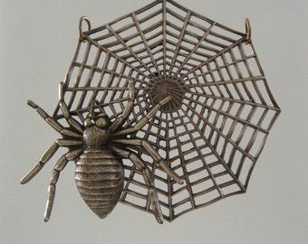 Vintage Pendant - Spider Necklace - Spider Web Pendant  - Vintage Brass - Statement Necklace - Brass Stamping - DIY Necklace