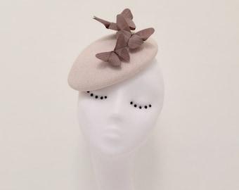 Aria : Pink button hat with silk origami butterflies. Fascinator, statement, wedding, races