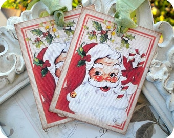 Shabby Santa Gift Tags (6) Christmas Favor Tag-Holiday Tags-Santa Embellishment-Christmas Tag-Santa Treat Tag-Santa Claus Tag-Santa Die Cut