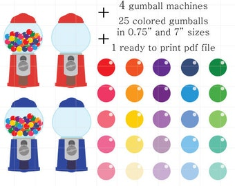 Gumball Machine Clipart, Colorful Candy Clipart, Gumball Clip Art, Colorful Gumballs, Empty Gumball Machines, Filled Gumball Machines