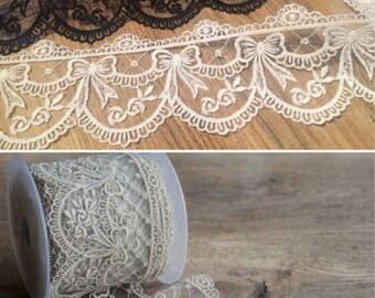 Lace Ribbon with heavy embroidered detail scalloped edge lace *70mm wide (sold by the Meter)
