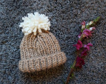 Beige Knitted Baby Hat with Cream Pom Pom / Baby Beanie / Chunky Knit Baby Hat / Baby Hat With Pom Pom / Chunky Knit Baby Beanie