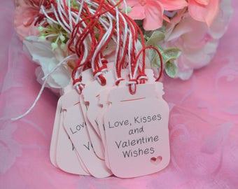 Love and Kisses Mason Jar Tags, Mini Mason Jar Valentine Tags, Rustic Valentines, Small Personalized Tags
