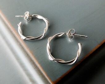 Modern Twist Silver Hoop Earrings, Sterling Silver Hoop Earrings, Small Hoop Earrings, Everyday Earrings, Casual Earrings, Gift for Her