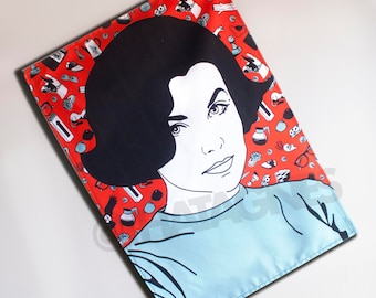 Twin Peaks Audrey Horne illustrated tea towel. Handmade and exclusive to ThatAgnes!