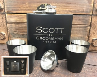 Groomsmen Gift, Flask Gift Set , Personalized Flask, Engraved Flask, Wedding Party Flask, Monogram Flask, Best Man Gift, Wedding Party Gifts