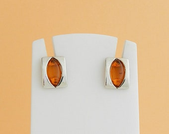 Earrings rectangulairesen amber and silver