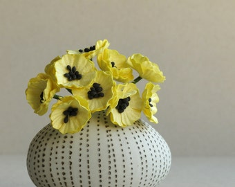 Yellow Paper Poppies - Miniature - Made of mulberry paper with wire stems - Set of 10 [145]