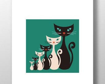 Atomic Kitty Teal Print - Retro Vintage Mid Century Cats Unframed