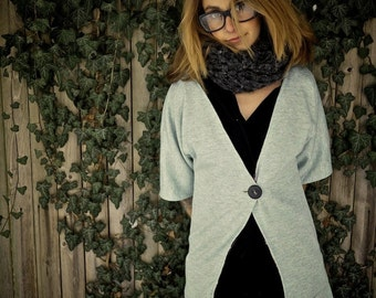 Organic Grey 3 4 Sleeve Cardigan Long Lined Sweater Women's Sweater Women's Grey Jumper Plus Size Sweater Layering Top Oversized Sweater 