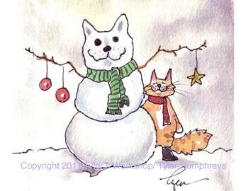Cat Christmas Card - Cat Card - Cat Christmas Greeting Card - Cat Watercolor Painting Illustration Cartoon Print 'Snowcat'
