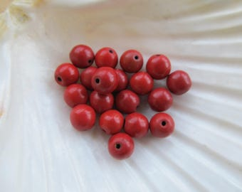 Set of 10 8 mm dyed natural howlite round beads: cherry red.