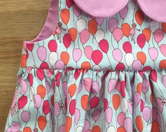 Girls' Vintage Style Sleeveless Empire Waist Dress with Lavender and Pink Balloons