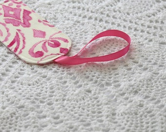 Single Luggage Tag - Pink Ikat