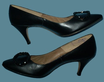Vintage 60s Black High Heel Shoes with Bead Clips 5 B
