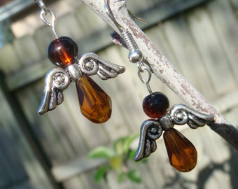 Angel Earrings Amber Religious Holiday