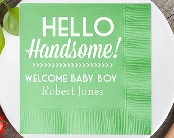 100 pcs Personalized Hello Handsome - Welcome Baby Boy - Announcement Napkin