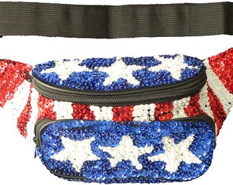 Red, White, and Blue Patriotic Sequin Fanny Pack