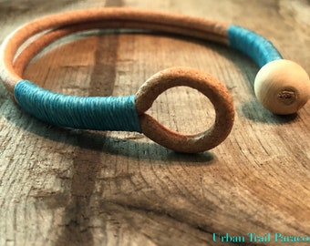 Genuine Leather Bracelet-Natural & Turquoise
