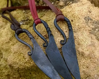 Viking knife pendant, Blacksmith knife, Viking Knife with natural cut leather cord